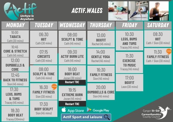 Actif Anywhere Timetable